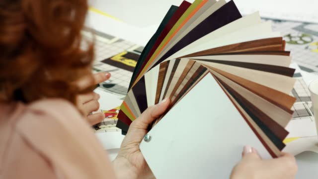 Interior designer choosing samples