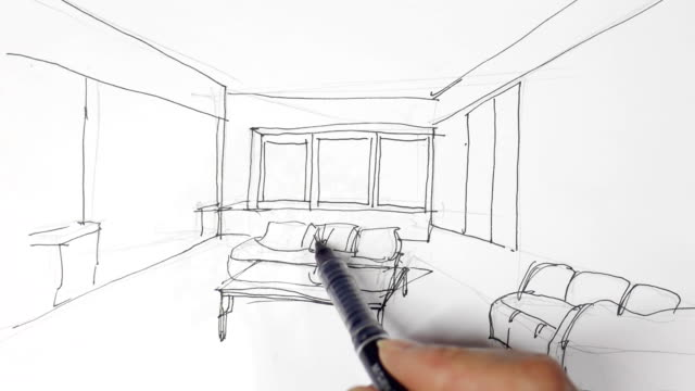 interior designer sketches on white paper - interior designer stock videos & royalty-free footage