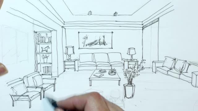 vidéos et rushes de interior designer croquis sur papier blanc - éléments de décoration intérieure