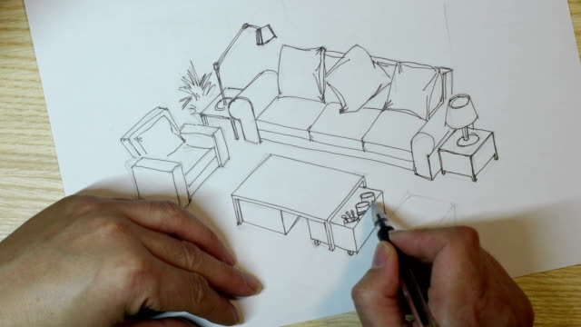 interior designer sketches on white paper - furniture stock videos & royalty-free footage