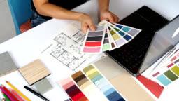 Interior designer working
