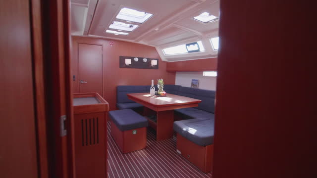 interior dining room on a sailboat boat. - dining room stock videos & royalty-free footage