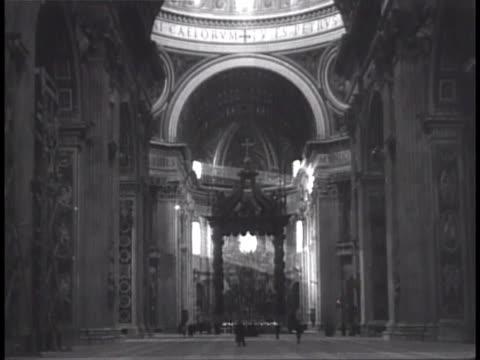 Interior dome of Basilica di San Pietro VS Papal Altar Baldacchino Bernini's