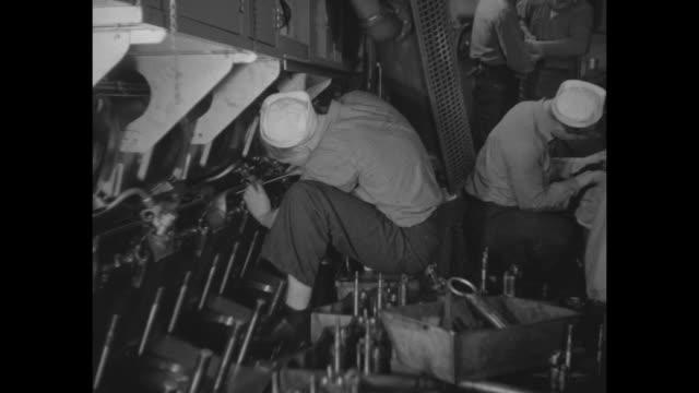 sailors work on engines pistons - piston stock videos & royalty-free footage