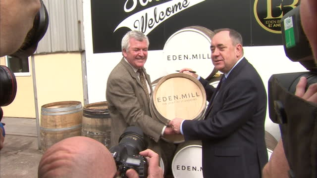 interior exterior shots of alex salmond campaigning at eden mill brewery distillery on september 2 2014 in fife scotland - alex salmond stock videos & royalty-free footage