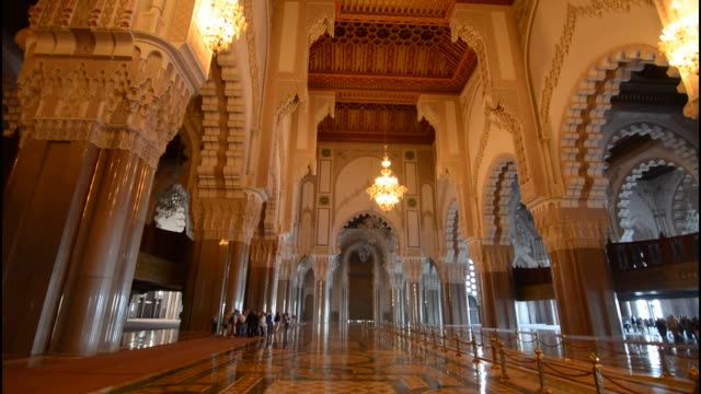 interior famous hassen ii mosque, casablanca morocco - roped off stock videos and b-roll footage