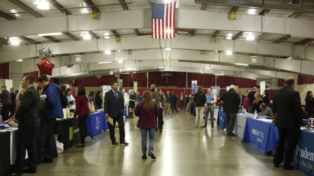 Interior footage from the Southwest Michigan Job Fair at the Kalamazoo County Expo Center in Kalamazoo Michigan US on Tuesday Mar 14 2017 Shots wide...