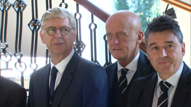 interior footage of international football association board officials meeting in belfast including arsene wenger, fifa president gianni infantino... - var stock videos & royalty-free footage