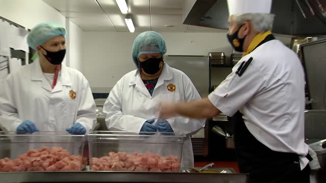 interior footage of manchester united fareshare kitchen preparing meals for children during the half term period on october 26th 2020, manchester,... - sports period stock videos & royalty-free footage