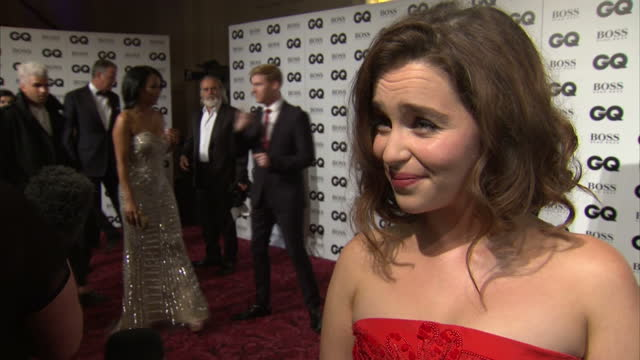 Interior interview actress Emilia Clarke at GQ Awards at Royal Opera House on September 08 2015 in London England