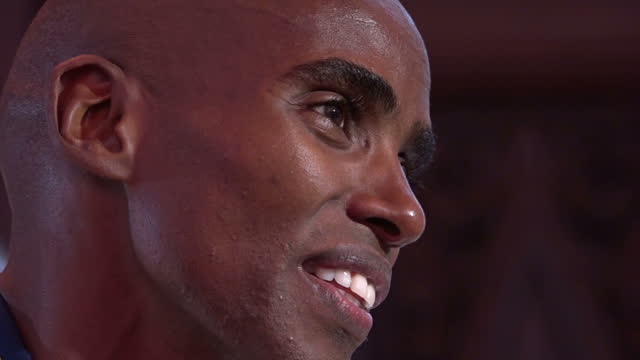 Interior interview cutaway shots of Mo Farah Team GB Distance Runner after winning Gold Medals at the Rio 2016 Olympic Games in the 10000 and 5000...
