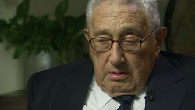 Interior interview grab with Henry Kissinger former US Secretary of State on hte threat from Islamic State on January 07 2016 in New York City