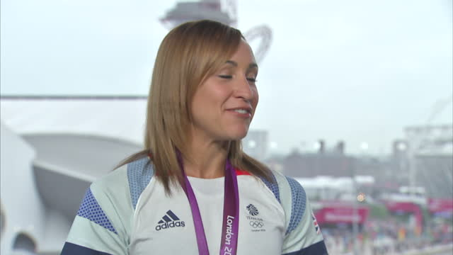 interior interview jessica ennis on enjoying events at the rest of the games and on team gb jessica ennis interview at olympic park on july 27 2012... - ロンドン ストラトフォード点の映像素材/bロール