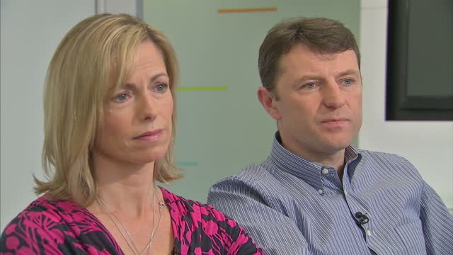 interior interview kate gerry mccann speaking about police leads the age processed picture of their missing daughter madeleine kate gerry mccann... - madeleine mccann video stock e b–roll