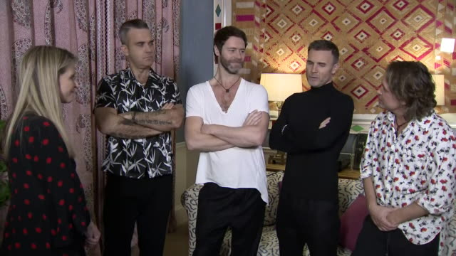 interior interview mark owen, robbie williams, gary barlow and howard donald of take that ahead of gala performance of musical the band - which is... - theatre royal haymarket stock videos & royalty-free footage