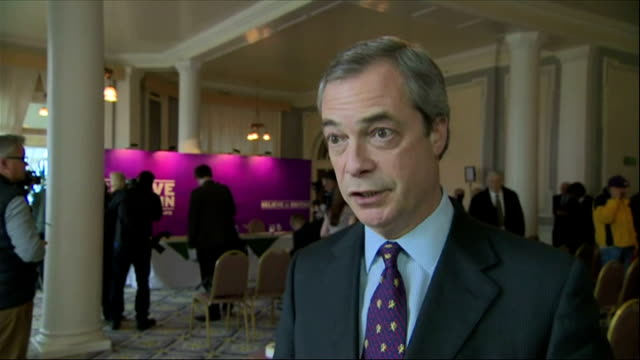 interior interview nigel farage ukip leader says expelled ukip mep janice atkinson can appeal her expulsion from the party and harriet yeo will be... - mep stock-videos und b-roll-filmmaterial