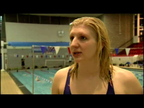 interior interview rebecca adlington upon receiving obe in new year's honours list following her gold medal at the beijing olympic games. - 2008年北京夏季オリンピック点の映像素材/bロール