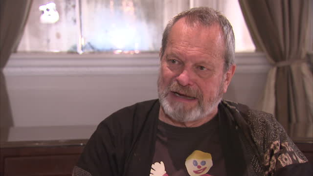 stockvideo's en b-roll-footage met interior interview terry gilliam on the monty python reunion monty python stars announce reunion stage show on november 21 2013 in london england - terry gilliam