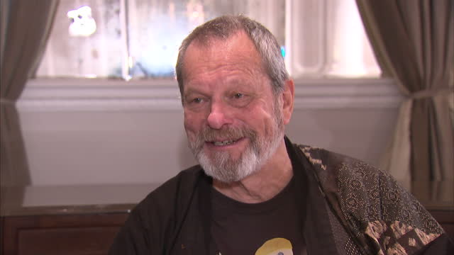 stockvideo's en b-roll-footage met interior interview terry gilliam on the monty python team reunion monty python stars announce reunion stage show on november 21 2013 in london england - terry gilliam