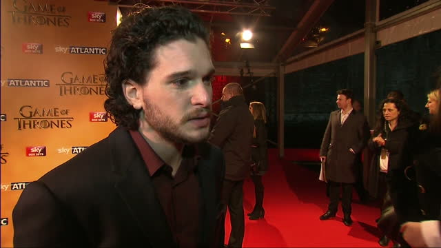 stockvideo's en b-roll-footage met interior interview with actor kit harrington, speaking about the complexity, controversial themes and characters that give games of thrones its... - television game show
