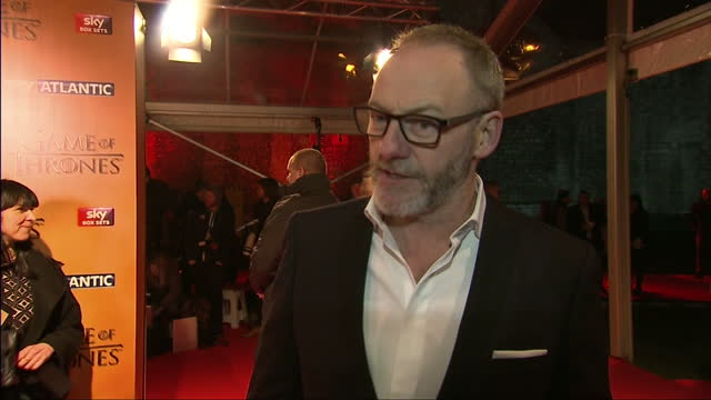 interior interview with actor liam cunningham speaking about the attention to detail and complex storytelling that appeals to the audience of games... - liam cunningham stock videos & royalty-free footage
