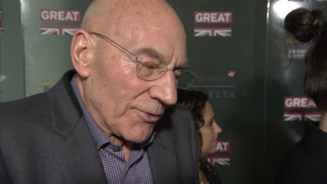 interior interview with actor patrick stewart at a great britain event prior to the 2015 oscars on february 22, 2015 in los angeles, california. - vanity fair oscar party stock videos & royalty-free footage