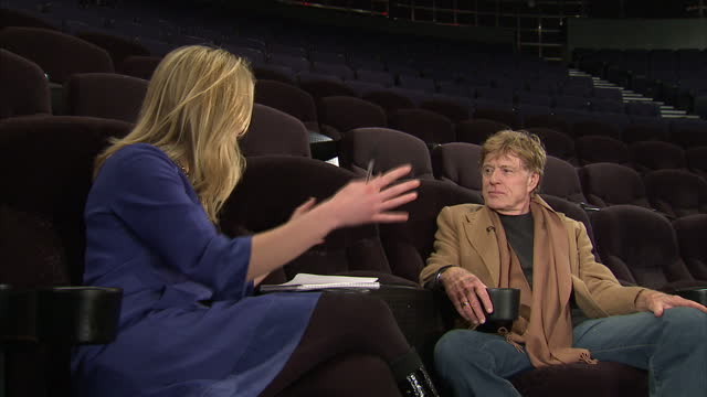 vídeos de stock e filmes b-roll de interior interview with actor robert redford on why he is bringing his sundance film festival to london robert redford interview on march 16 2011 in... - robert redford