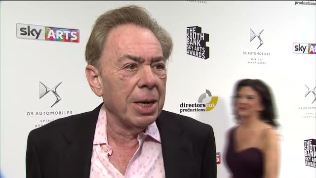 interior interview with andrew lloyd webber speaking about being honoured to receive the outstanding achievement award at the south bank sky arts... - andrew lloyd webber stock videos & royalty-free footage