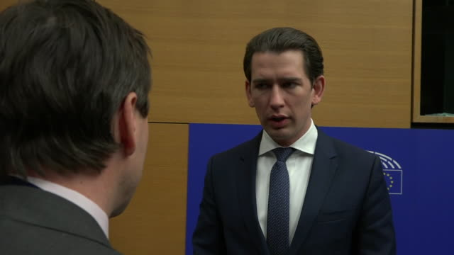 interior interview with austrian chancellor sebastian kurz speaking about brexit the uk meaningful vote and a possible no deal brexit on 15 janaury... - オーストリア文化点の映像素材/bロール