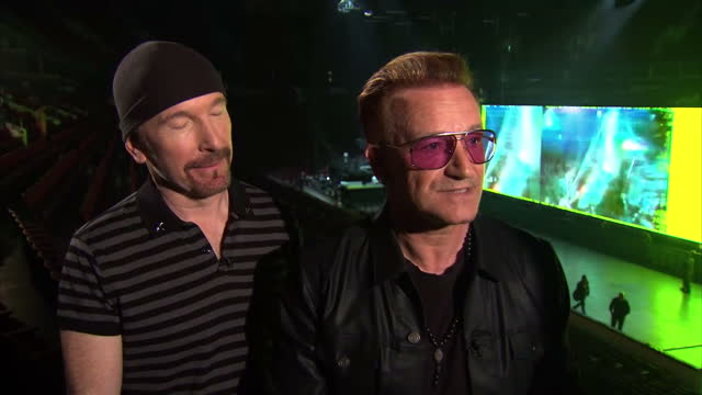 interior interview with bono and the edge of u2 about bono's cycling accident on may 15 2015 in vancouver british columbia - david 'the edge' howell evans stock videos and b-roll footage