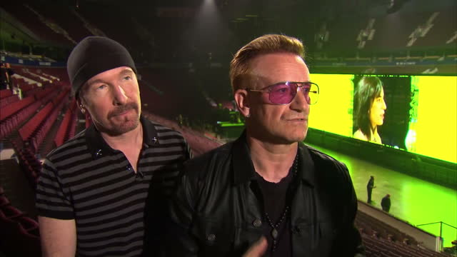interior interview with bono and the edge of u2 about getting back into touring on their innocence and experience tour on may 15 2015 in vancouver... - david 'the edge' howell evans stock videos and b-roll footage