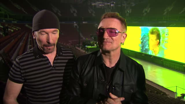 interior interview with bono and the edge of u2 about their choice of venue for their first show of the innocence and experience tour on may 15 2015... - david 'the edge' howell evans stock videos and b-roll footage