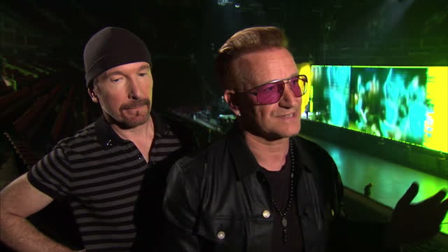 interior interview with bono and the edge of u2 about their innocence and experience tour on may 15 2015 in vancouver british columbia - david 'the edge' howell evans stock videos and b-roll footage