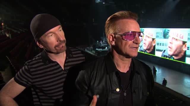interior interview with bono and the edge of u2 about their tax payments on may 15 2015 in vancouver british columbia - david 'the edge' howell evans stock videos and b-roll footage