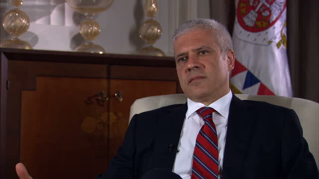 interior interview with boris tadic, serbian president with sky news foreign affairs editor tim marshall.the former leader of the bosnian-serb army... - ratko mladic stock videos & royalty-free footage