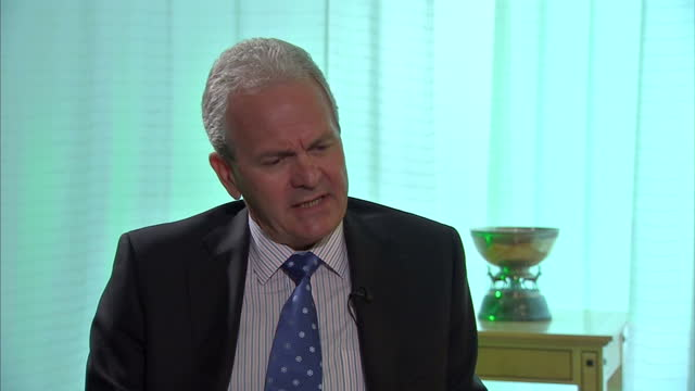 stockvideo's en b-roll-footage met interior interview with carl henric svanberg bp chairman on the day that tony hayward's exit was confirmed and the company posted losses of billion... - bp