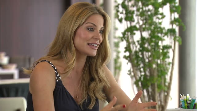 interior interview with charlotte coleman jackson, sky sports presenter & chris coleman's wife, talking about euro 2016 football progress for wales,... - wife stock videos & royalty-free footage