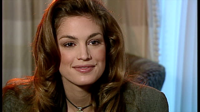 "interior interview with cindy crawford speaking about her new exercise video, the ""shape your body workout"". >> on november 02, 1992 in london,... - cindy crawford stock videos & royalty-free footage"