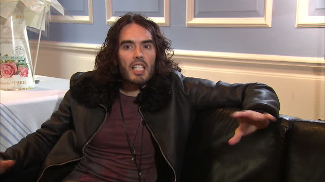 stockvideo's en b-roll-footage met interior interview with comedian russell brand speaking about his new charitable group the give it up fund and why he believes abstinence based... - middelenmisbruik