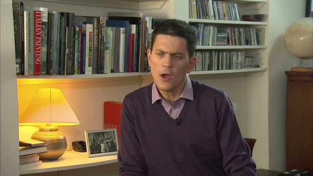 interior interview with david miliband mp where he announces that he is to leave frontline politics following his brother ed becoming labour leader... - david miliband stock videos & royalty-free footage
