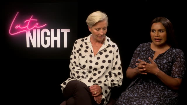 interior interview with emma thompson and mindy kaling on their roles in the forthcoming release 'late night' and themes in the film on 31 may 2019... - エマ・トンプソン点の映像素材/bロール