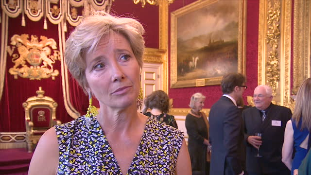 Interior interview with Emma Thompson speaking about the reception for British Oscar winners at St James's Palace and reminiscing about an invitation...