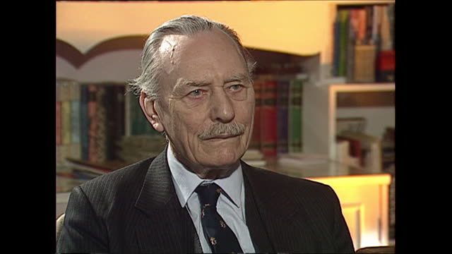 interior interview with enoch powell on the 25th anniversary of his rivers of blood speech during which he defends the famous speech and asserts that... - enoch powell stock videos & royalty-free footage