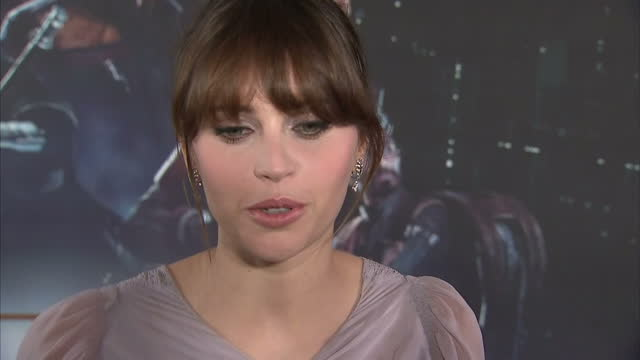 Interior interview with Felicity Jones actress about having to be physically fit for the demands of her role in Rogue One A Star Wars story and that...