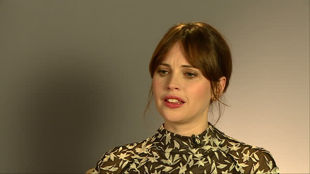 Interior interview with Felicity Jones Rogue One actor at Leicester Square on December 13 2016 in London England