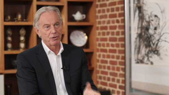interior interview with former prime minister tony blair on possible russian interference in the european and other elections and potential... - former stock videos & royalty-free footage