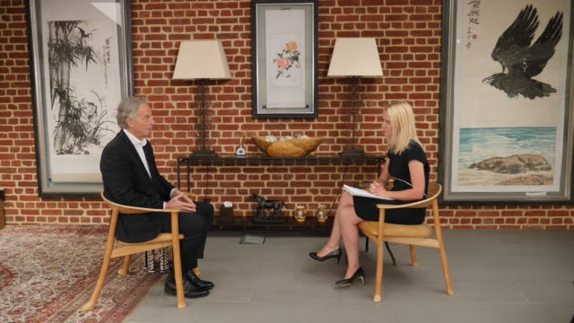 interior interview with former prime minister tony blair on the government's response to coronavirus on 26 july 2020 in london united kingdom - former stock videos & royalty-free footage