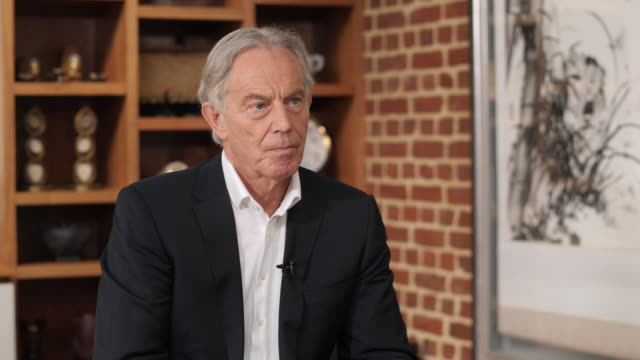 interior interview with former prime minister tony blair on diplomatic relations with china on 26 july 2020 in london united kingdom - former stock videos & royalty-free footage