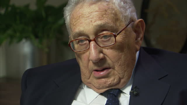 interior interview with former us secretary of state henry kissinger speaking about north korea claiming to have recently tested a hydrogen bomb we... - nuklearbombe stock-videos und b-roll-filmmaterial
