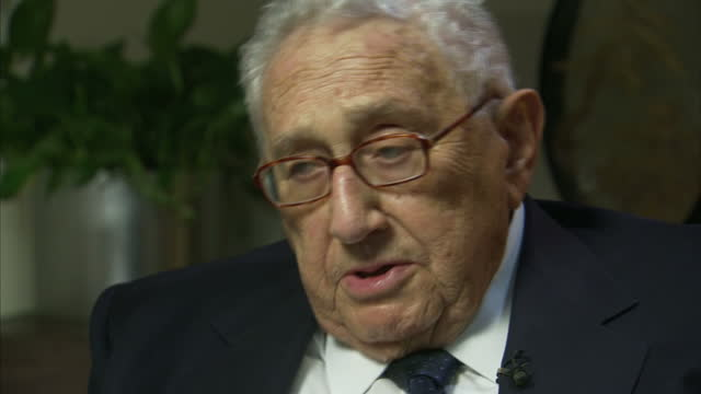 Interior interview with former US Secretary of State Henry Kissinger speaking about the potential challenges of having a president with no prior...